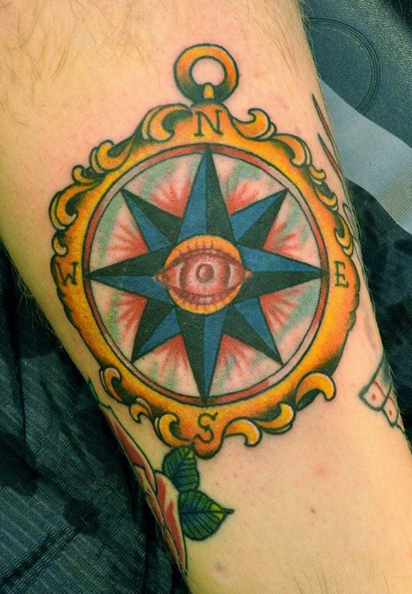 traditional compass arm tattoo