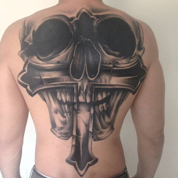 Skull Cross Back Tattoo