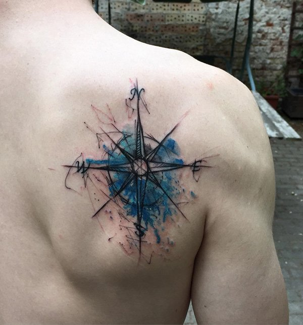Watercolour Compass Back Tattoo