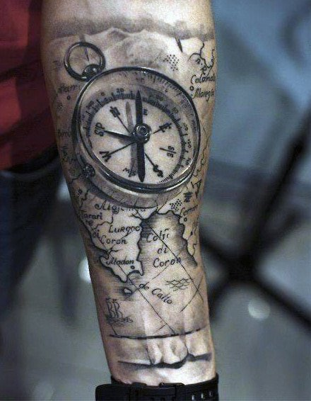 compass tattoo arm design
