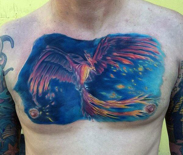 Cool Blue Sky Phoenix Chest Tattoo