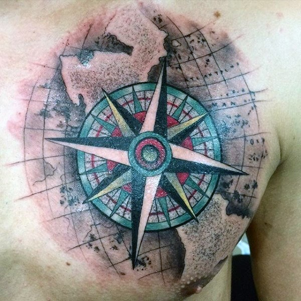 Rose Compass Chest Tattoo