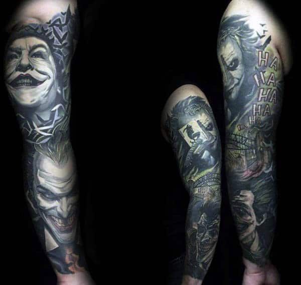 The Joker Themed Tattoo Sleeve