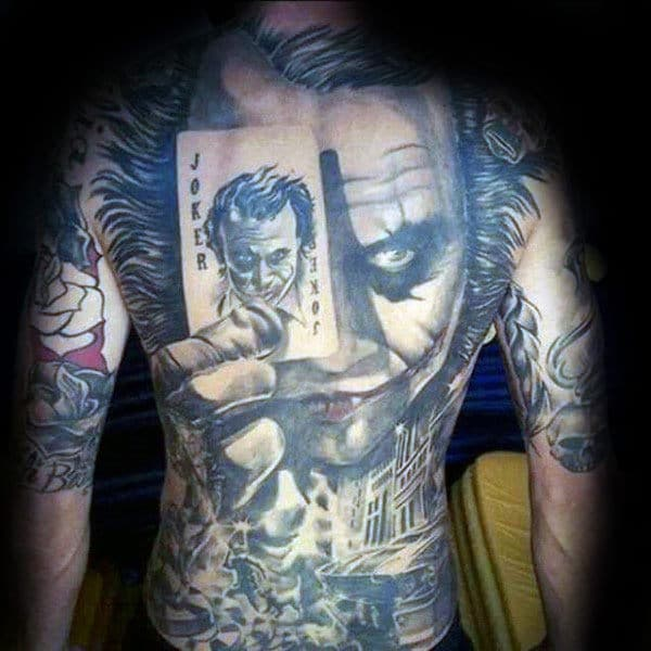 The Joker Full Back Tattoo