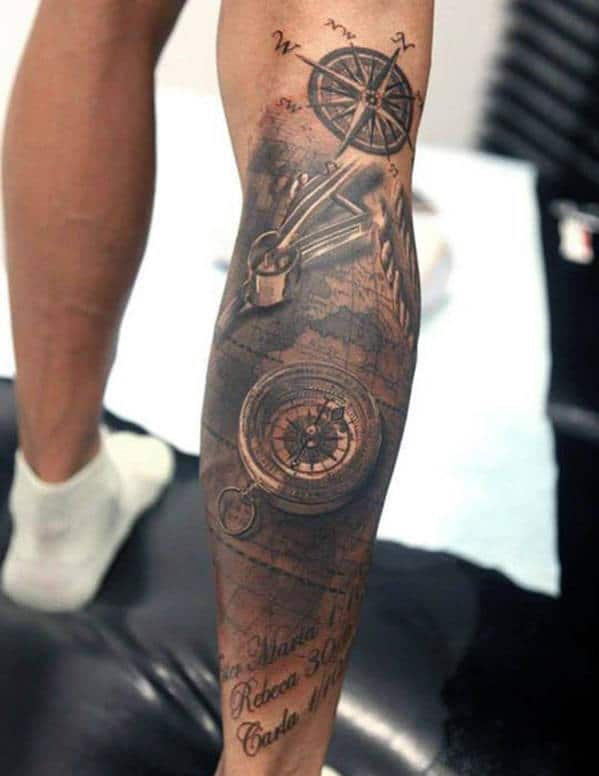 Compass Leg Tattoo