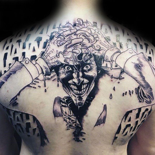 Outline The Joker Full Back Tattoo