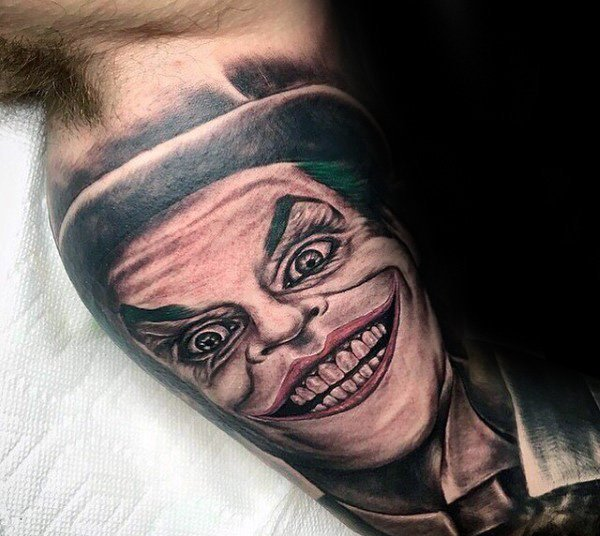 The Joker Inner Arm Bicep Tattoo