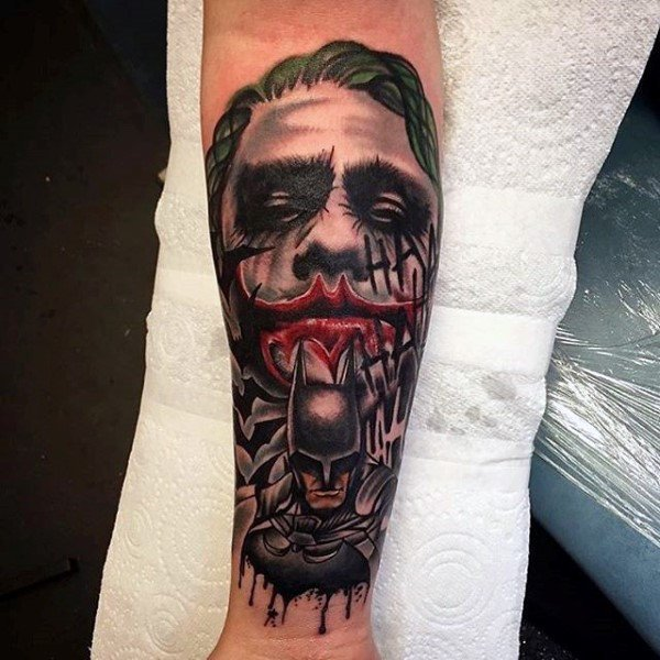 The Joker & Batman Forearm Tattoo Design