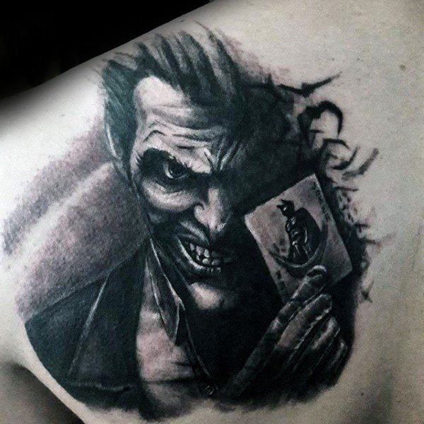 Shaded Joker Tattoo Upper Back