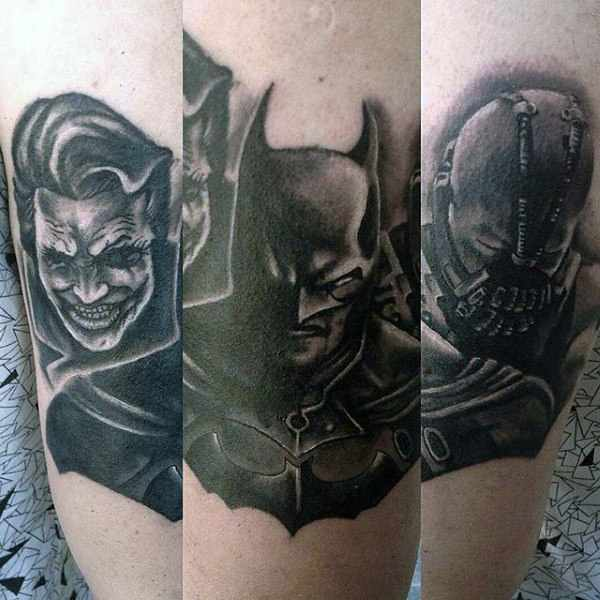 Batman Joker & Bane Arm Tattoos
