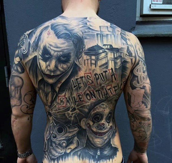 Full Back Joker Themed Tattoo