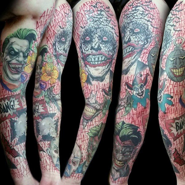 Colourful The Joker Themed Tattoo Sleeve