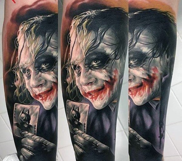 Realistic The Joker Themed Tattoo Sleeve