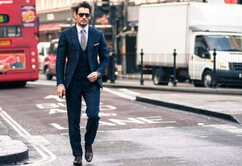 david gandy blue three piece suit wih brown shoes mens street style