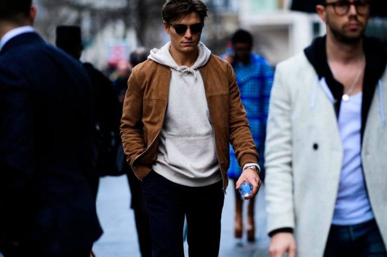 oliver cheshire brown suede bombber jacket grey hoodie mens street style