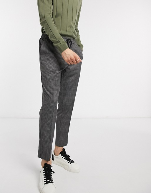 New Look Slim Pull On Pop Check Pants In Gray
